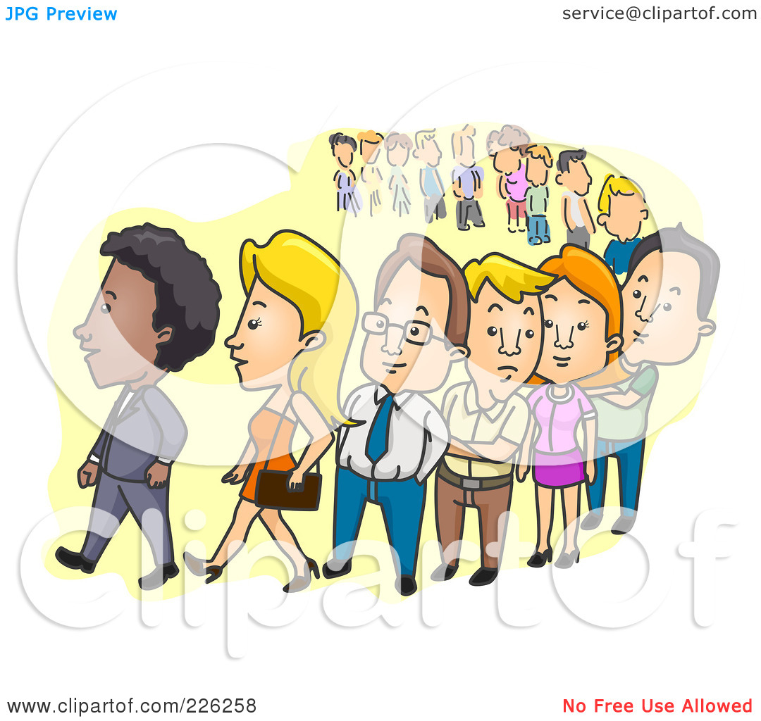 People standing in long line clipart.