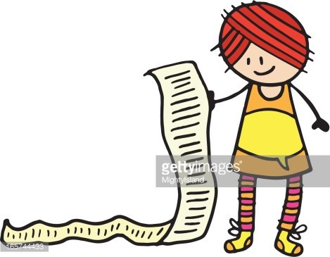 Smiling woman holding a long list of items Clipart Image.