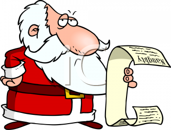 Santa Reading List Clipart.
