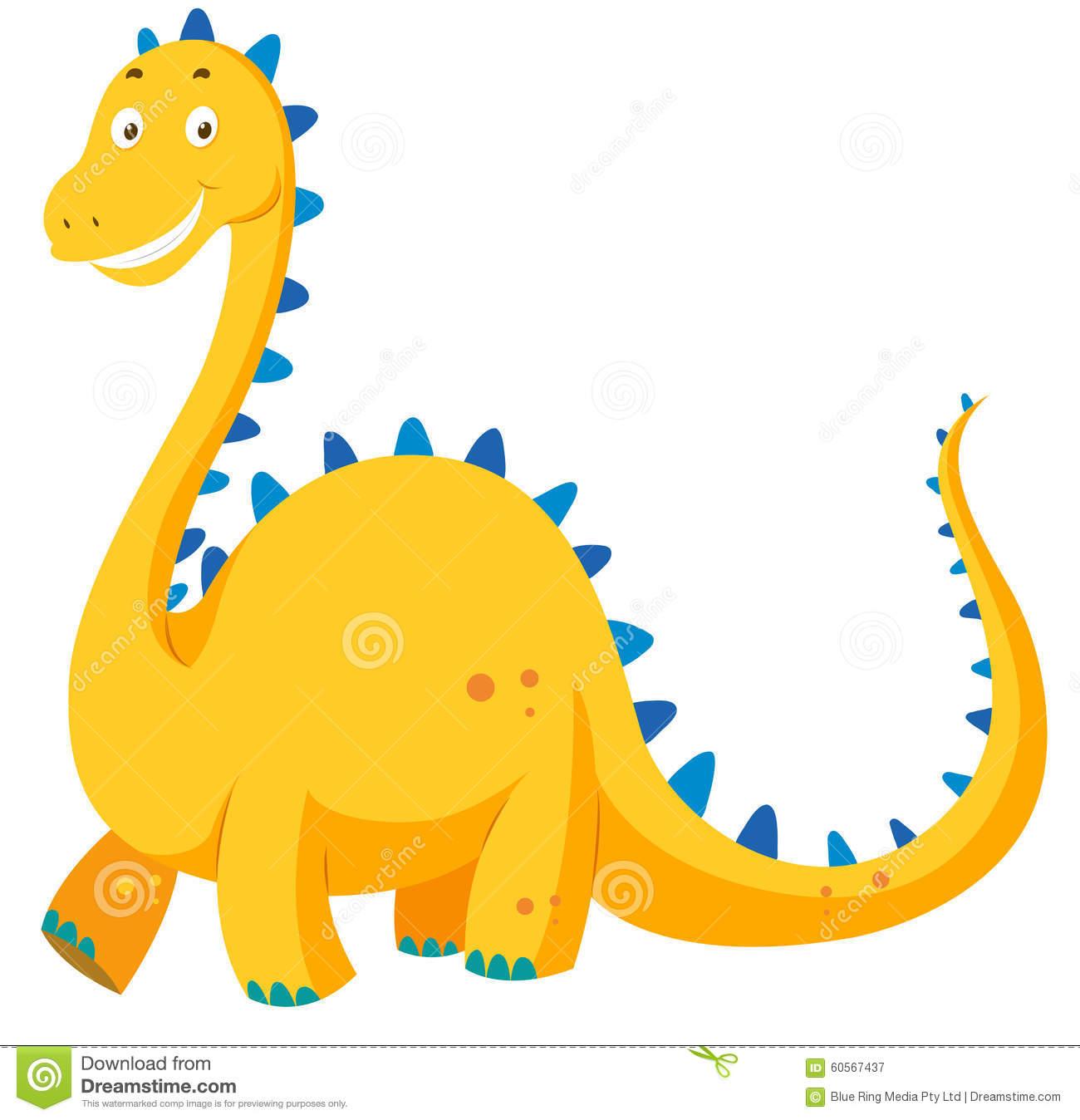 Cute Yellow Dinosaur With Long Neck Stock Vector.