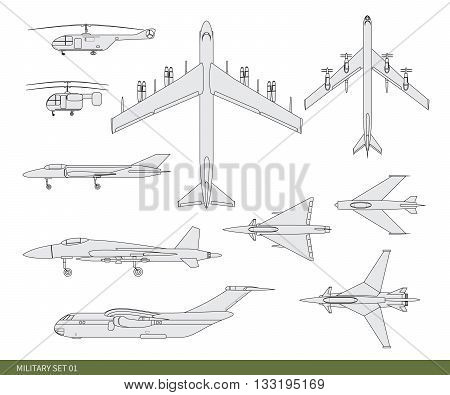 Vector illustration. Military aircrafts set: an attack, an.
