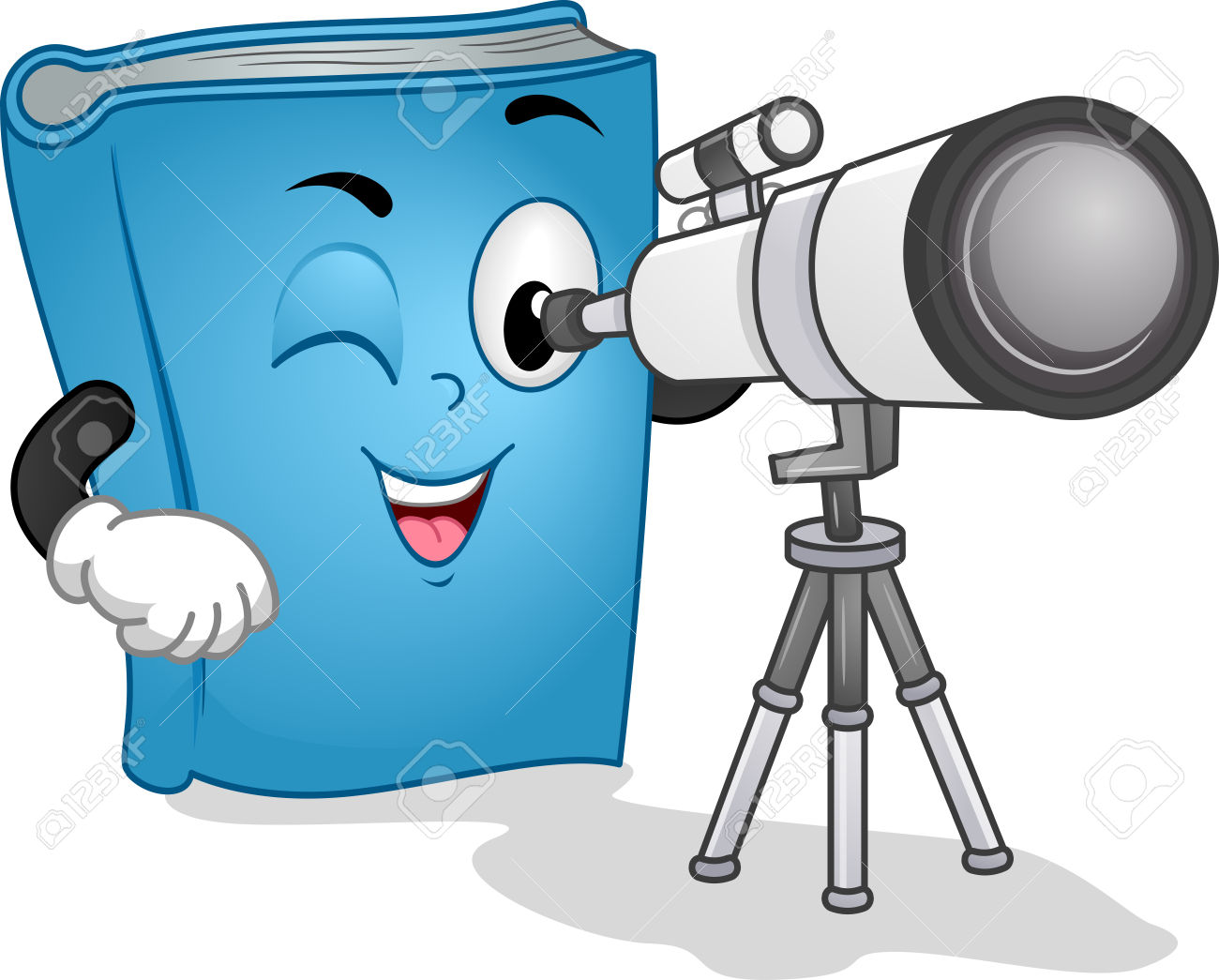 Mascot Illustration Of A Blue Book Using A Long Range Observation.