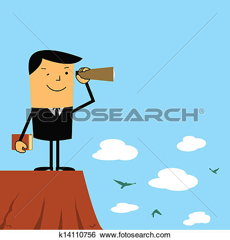 Clip Art of Long range vision businessman. k14110756.