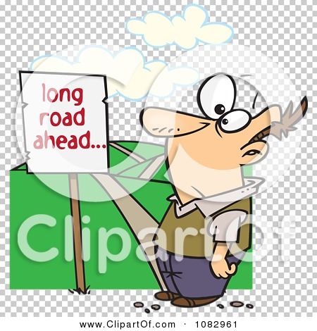 Clipart Man Facing A Long Road Ahead Sign And A Hilly Path.