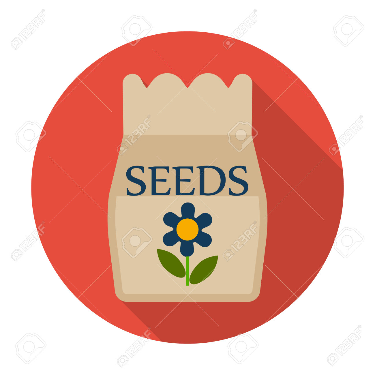 Seeds Flat Icon With Long Shadow For Web Design Royalty Free.