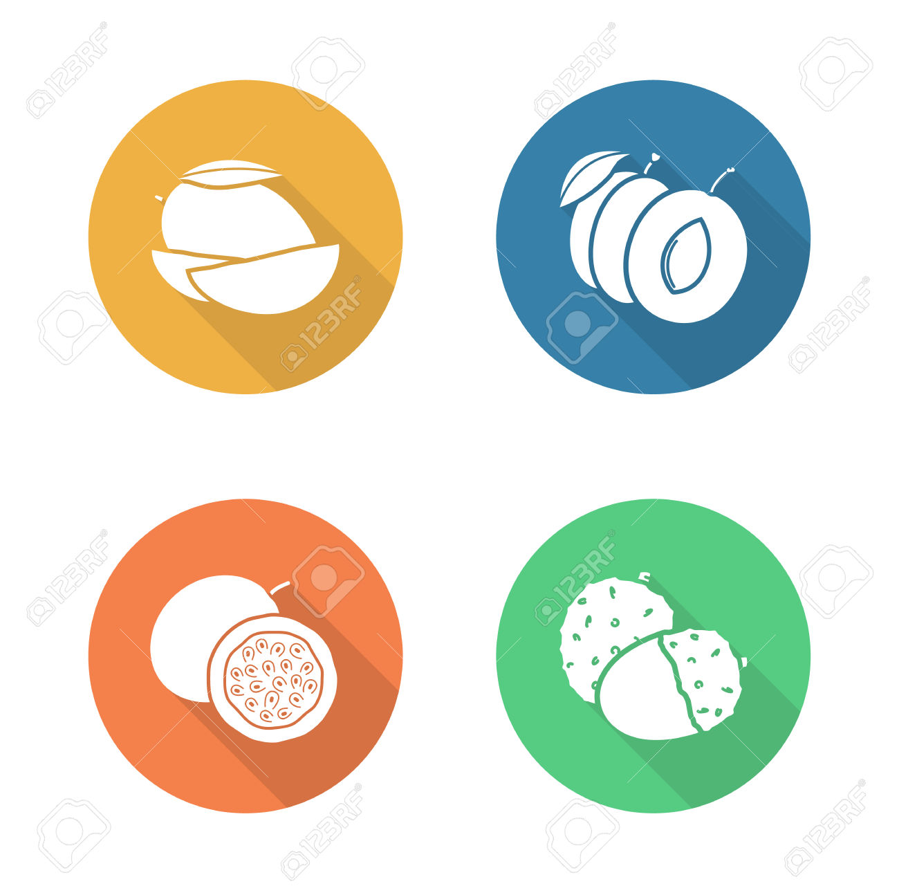 Fruits Flat Design Icons Set. Sliced Mango Color Long Shadow.