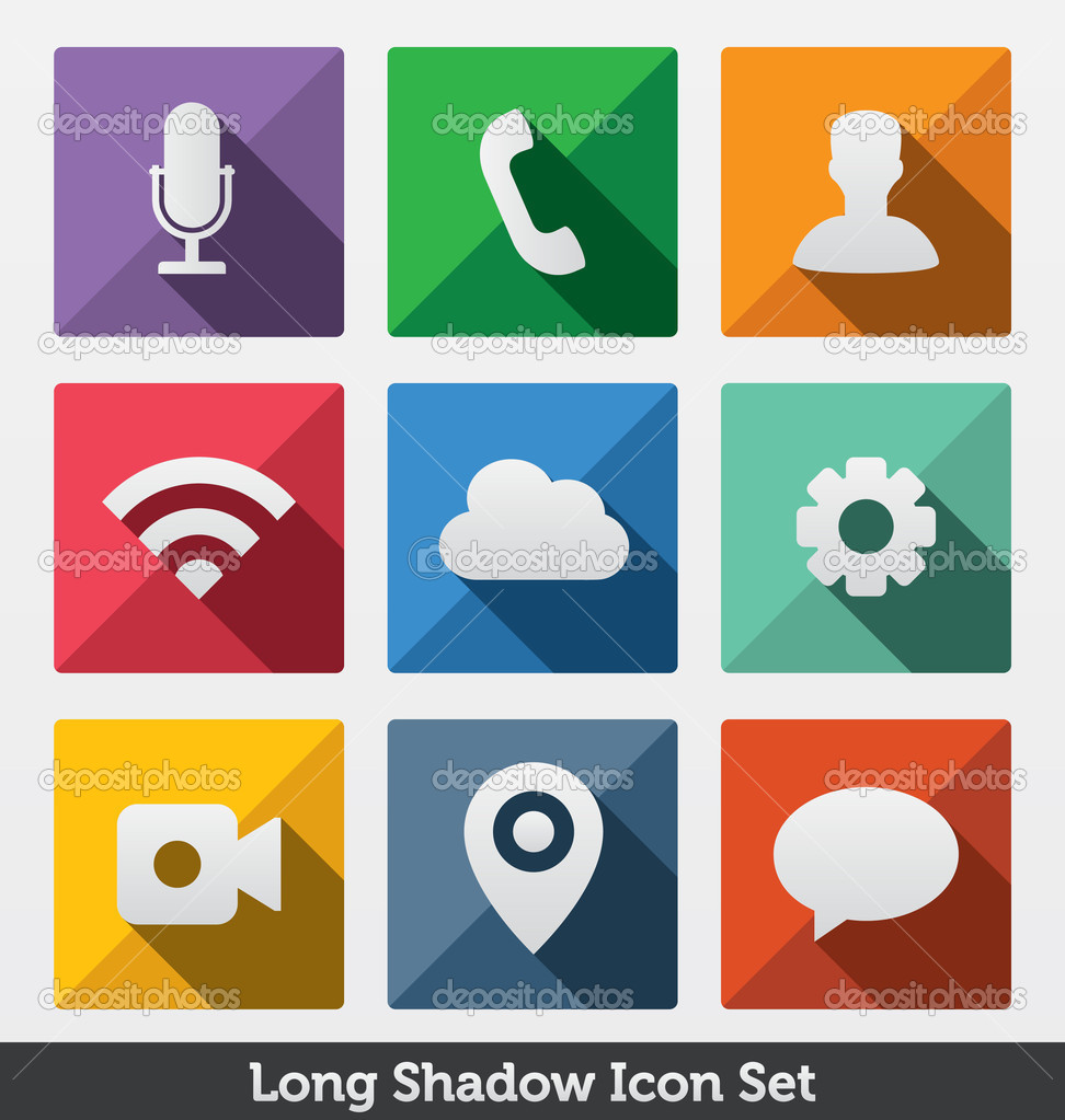 Long Shadow Icon Set, Trendy Design , — Stock Vector © medveh.