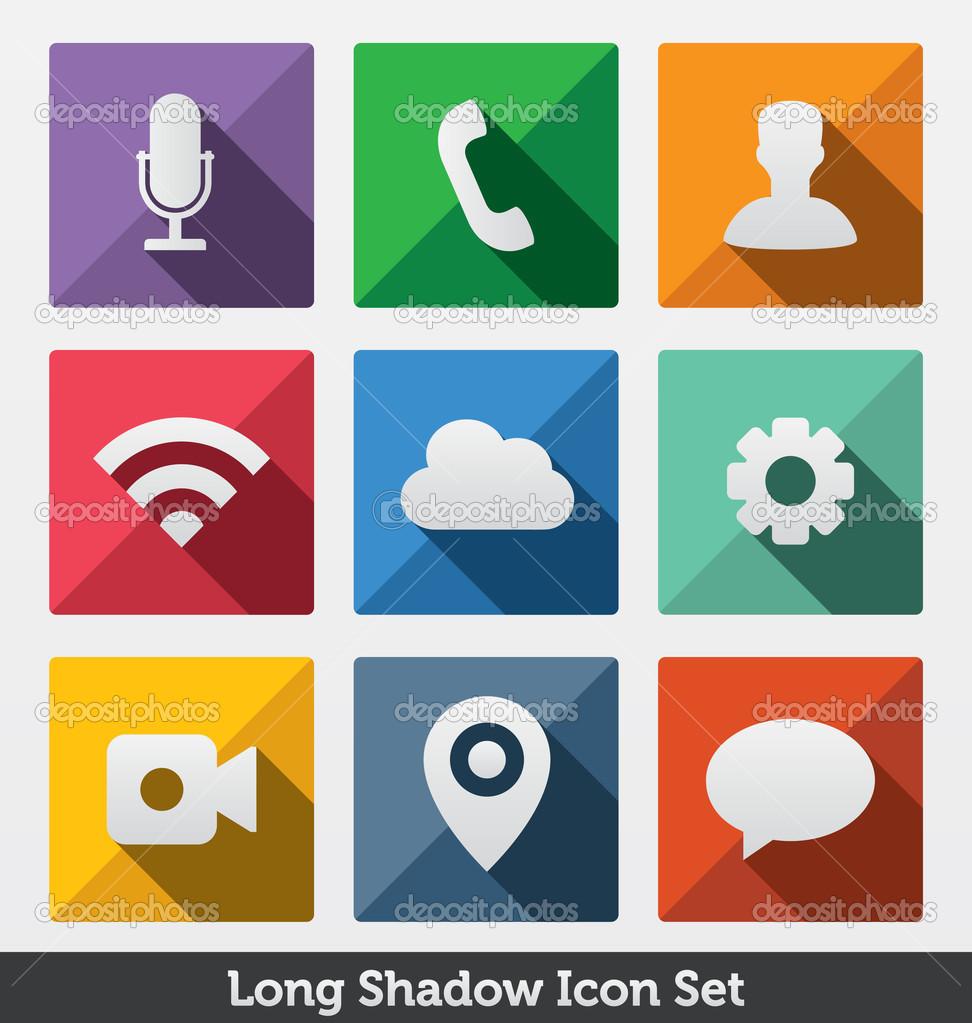Long Shadow Icon Set, Trendy Design , — Stock Vector © medveh.