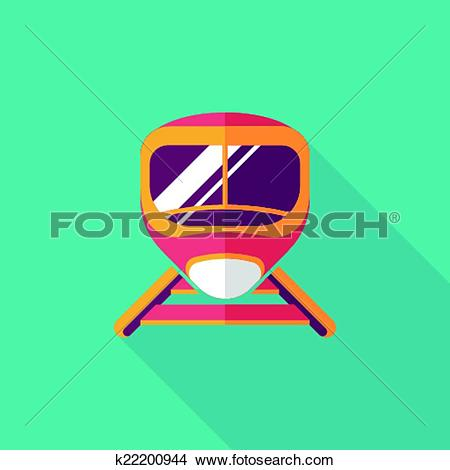Clipart of speed train flat icon with long shadow k22200944.