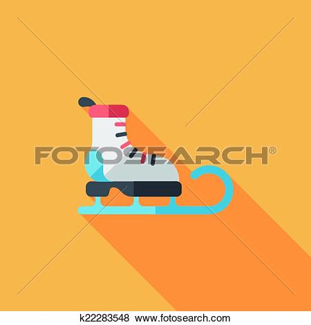 Clip Art of Santa's sleigh flat icon with long shadow eps10.