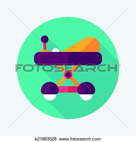Clip Art of Baby walker flat icon with long shadow,eps10 k21863528.
