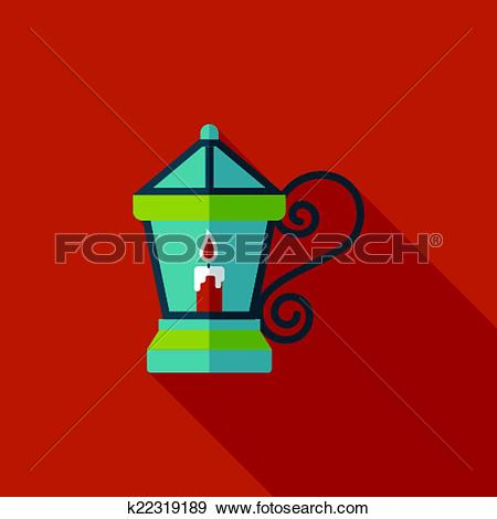 Clip Art of Christmas lantern flat icon with long shadow,eps10.