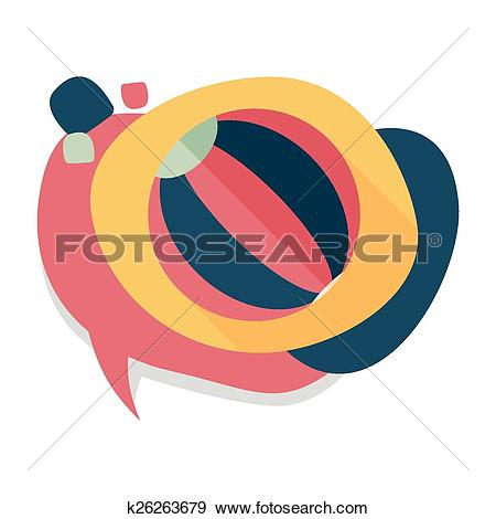 Clip Art of Beach ball flat icon with long shadow k26263679.