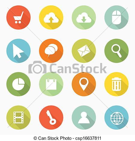 Vector Clip Art of Icons web long shadow design csp16637811.