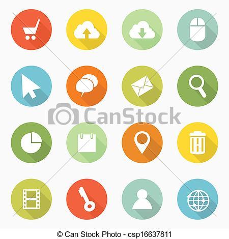 Vector Clip Art of Icons web long shadow design csp16637811.