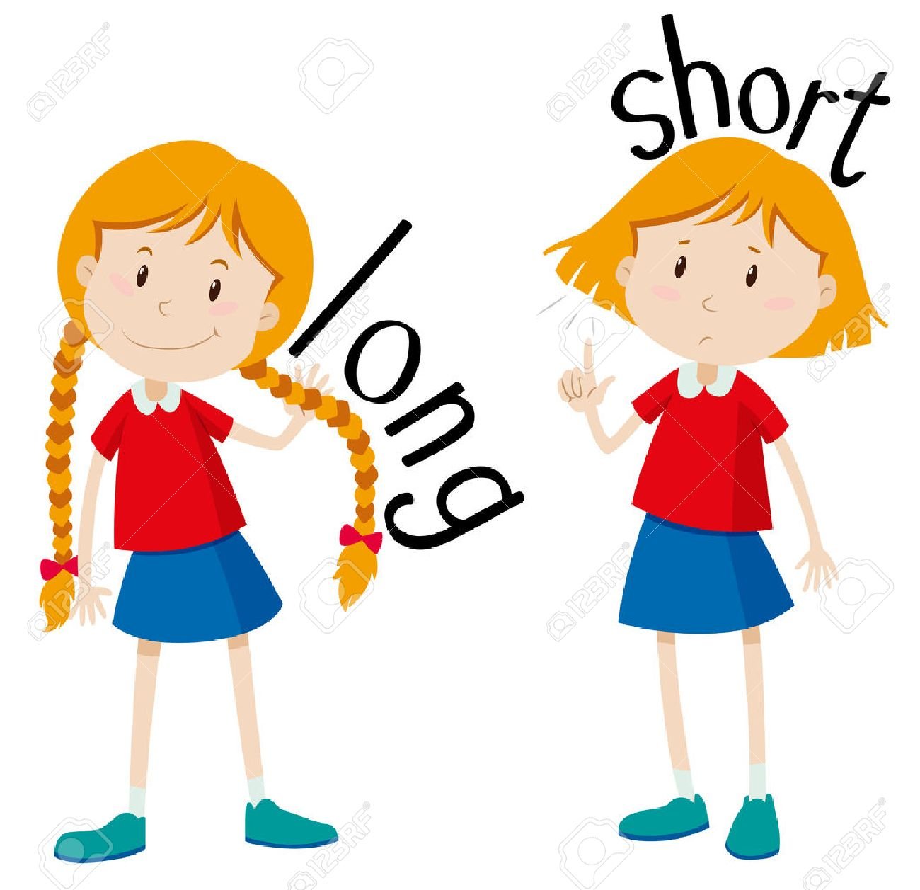 Opposite adjectives long and short illustration.