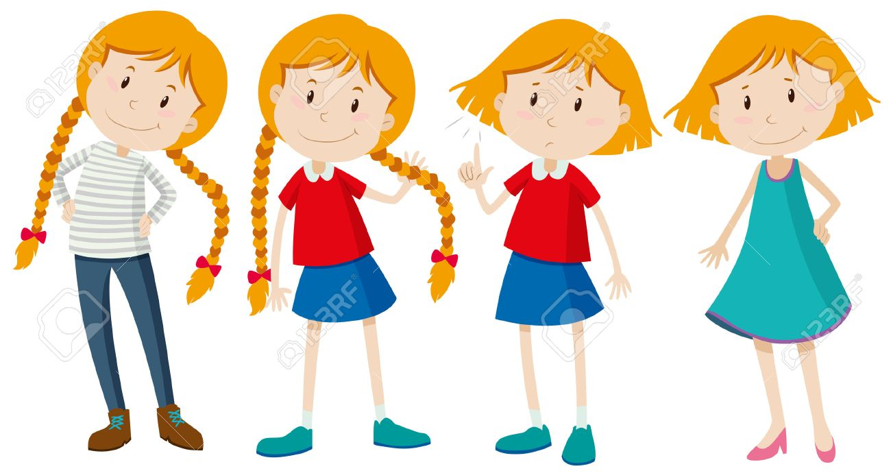 Little girls with long and short hair illustration.