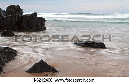 Pictures of Wave withdrawing making patterns with slow shutter.