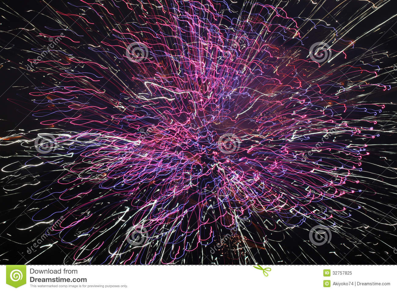 Fireworks With Slow Shutter Speed Royalty Free Stock Photo.