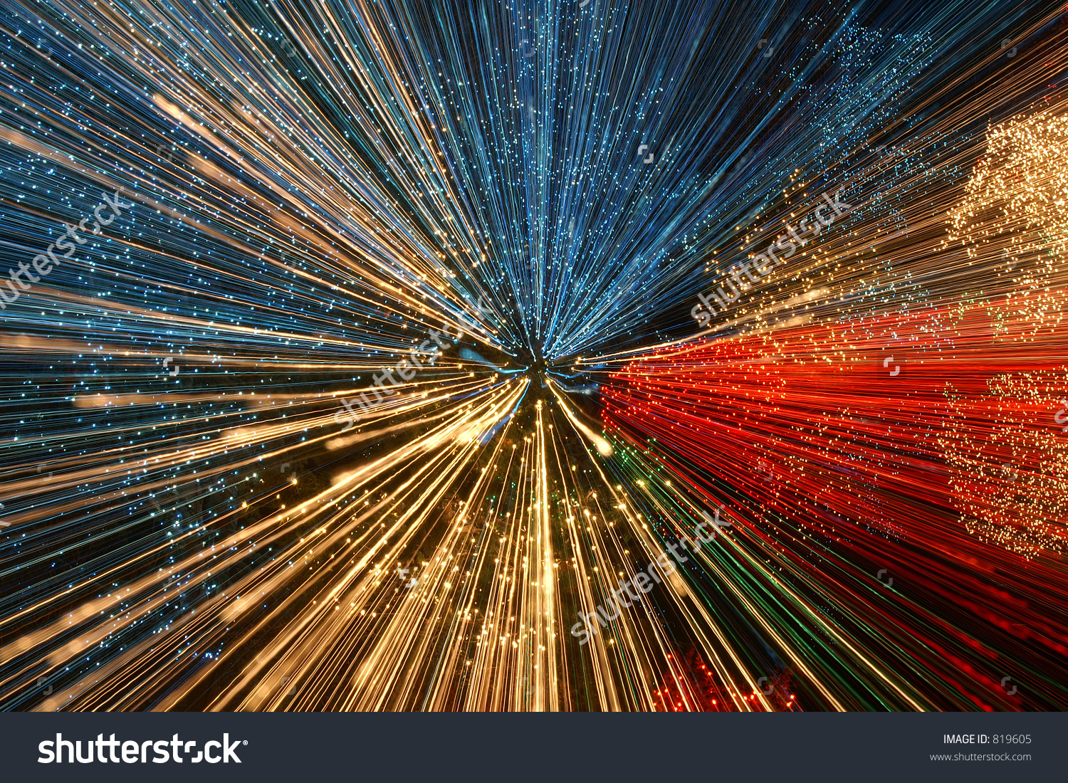 Christmas Lights Zooming During Slow Shutter Stock Photo 819605.