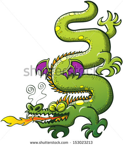 Green Snakelike Dragon Spines Purple Bat Stock Vector 153023213.