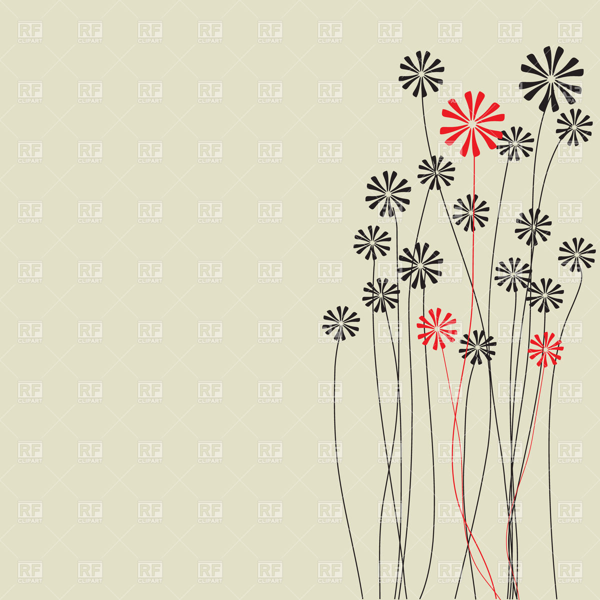 Abstract hand drawn flowers with long stems Vector Image #24185.