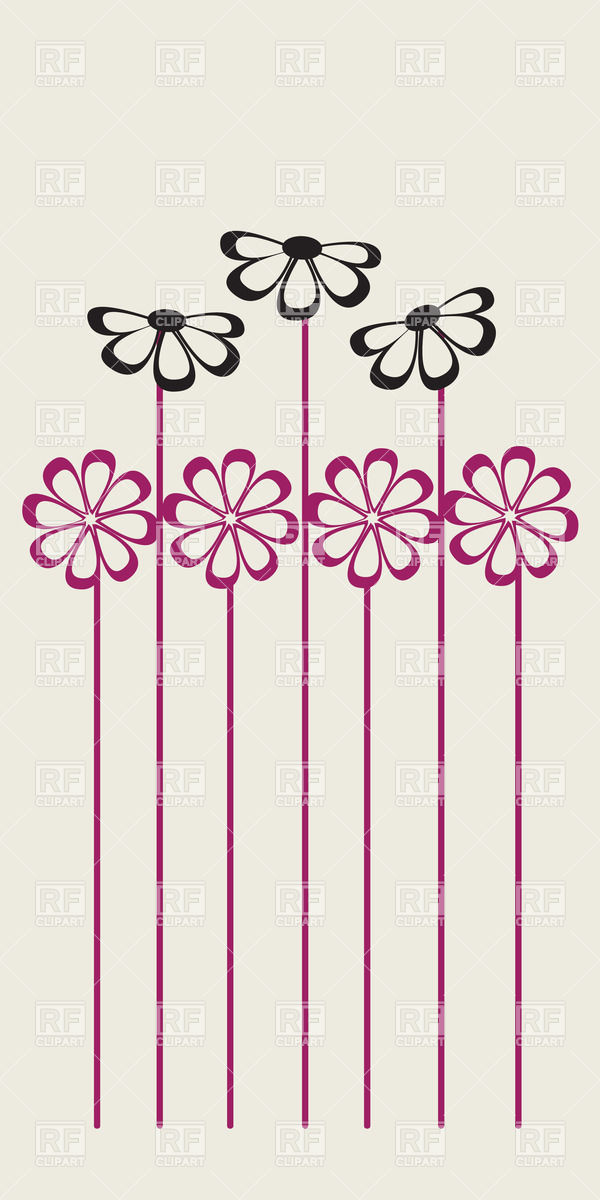 Seven simplistic graphic flowers with long stems Vector Image.
