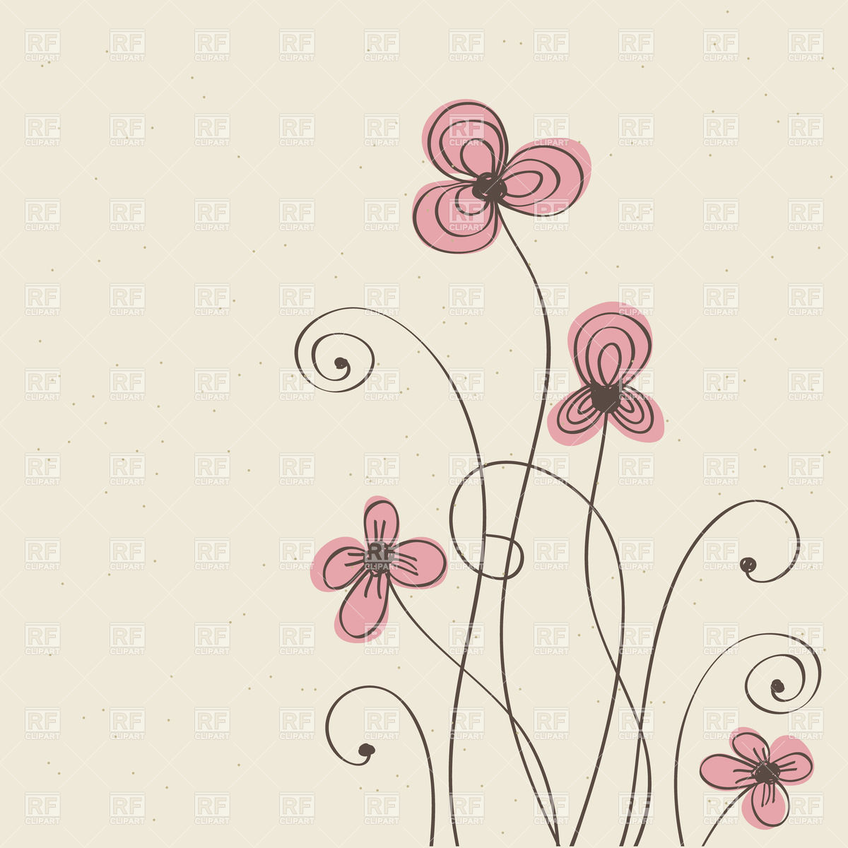 Hand drawn flowers with long stems Vector Image #24059.