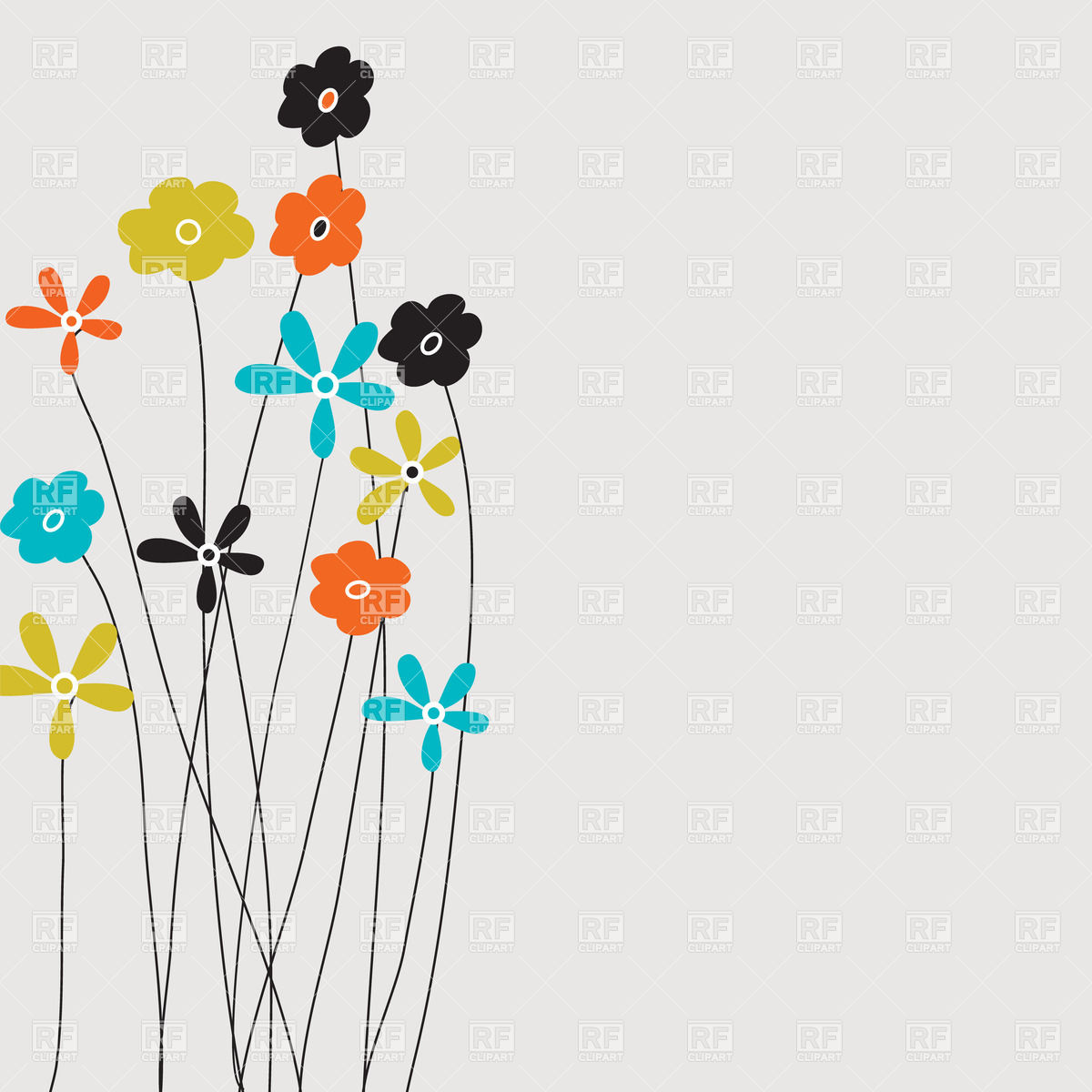 Several cartoon flowers on long stems Vector Image #23585.