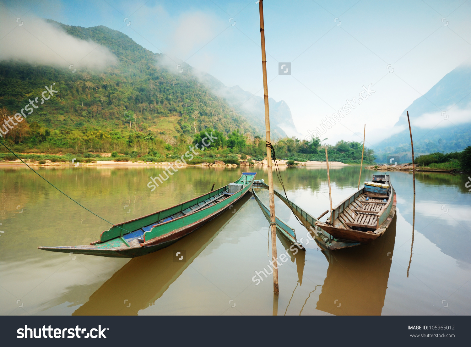 Local Long Tail Boat In Mekong River ,Laos Stock Photo 105965012.