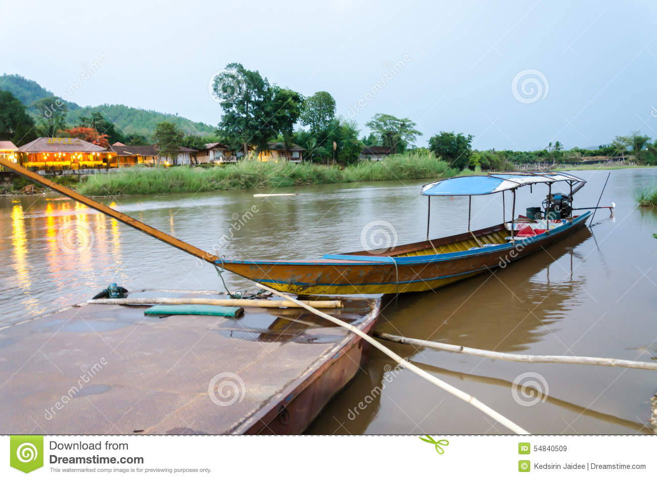 Long Tailed Boat On Kok River In Thailand Editorial Stock Image.