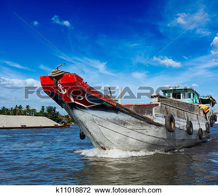 Stock Photo of Boat. Mekong river delta, Vietnam k11018872.