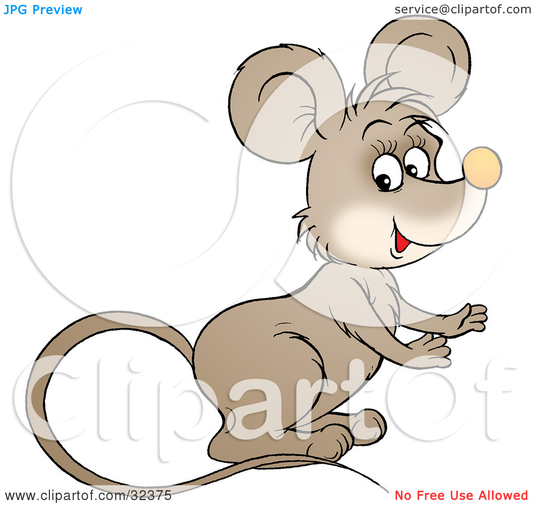 Clipart Illustration of a Cute Brown Mouse With A Long Tail.