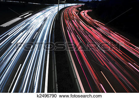 Stock Photography of long time exposure of traffic car lights in.