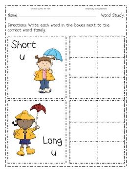 Rainy Day Short U, Long U Write the Room.