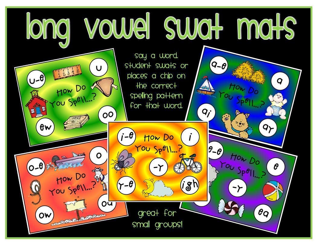 Clip Art by Carrie Teaching First: Long Vowel Spelling Swat Mats.