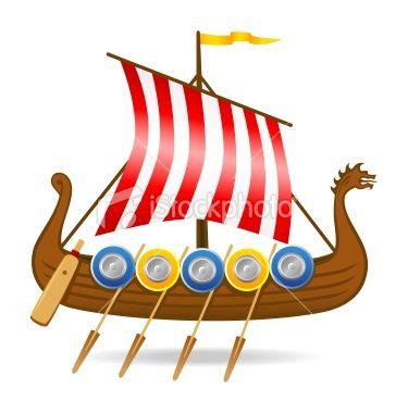 Viking Ship Vector Art Clipart.