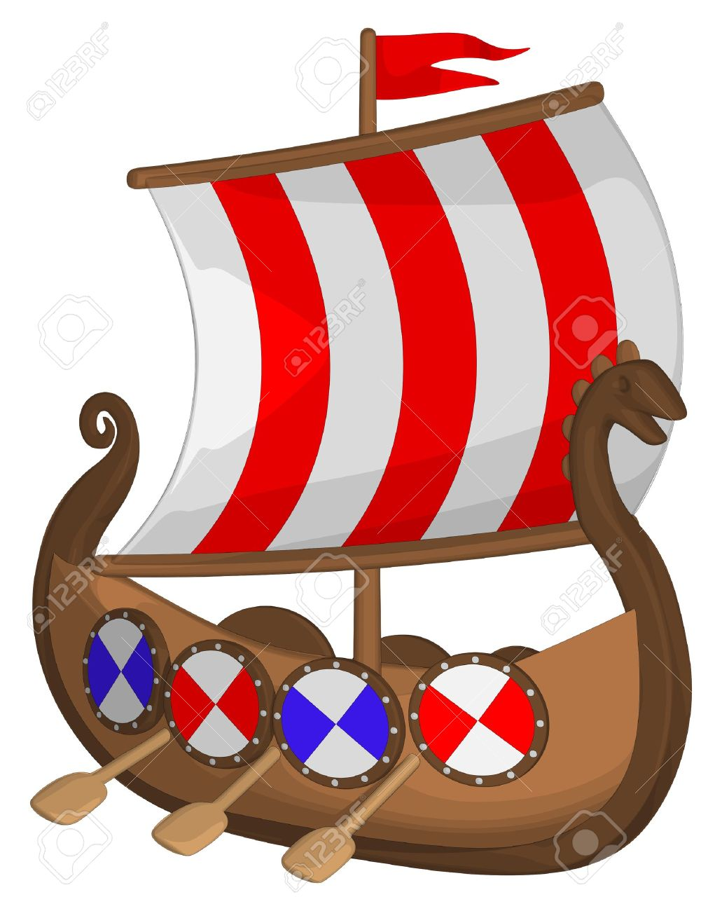 Viking Ship Isolated On A White Background. Royalty Free Cliparts.