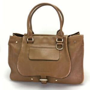 Details about AUTHENTIC LONGCHAMP Logo Tote Bag Reversible Shoulder Bag  Brown Leather.