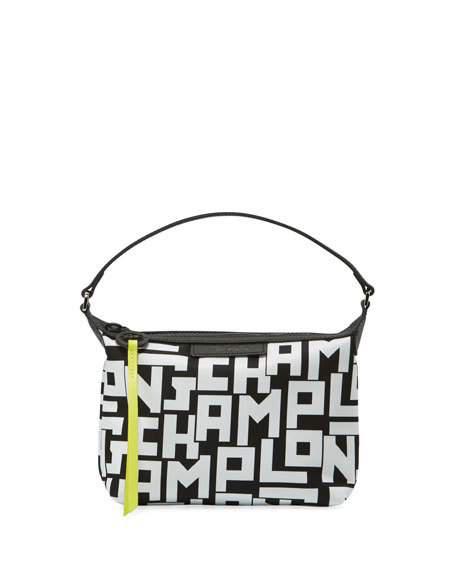 Lonchamp Mini Le Pliage Logo Nylon Shoulder Bag.
