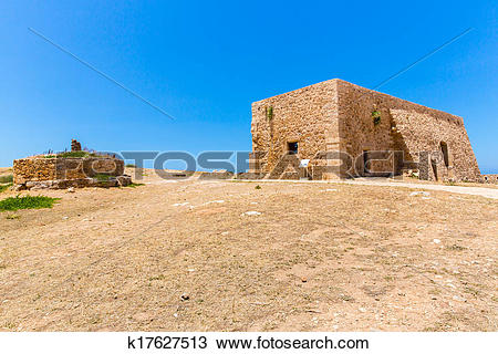 Stock Photo of Ruins of old town in Rethymno, Crete, Greece. It.