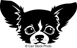 Clip Art Vector of vector sketch dog Chihuahua breed smiling.