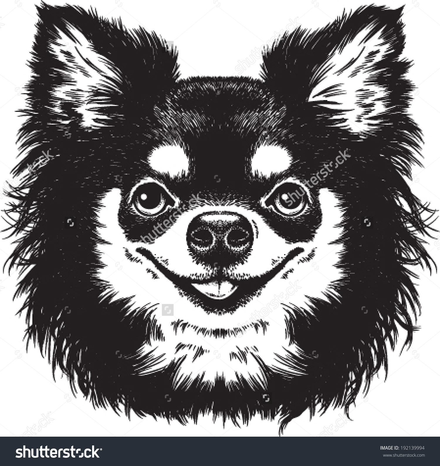 Black White Vector Sketch Cute Long Stock Vector 192139994.