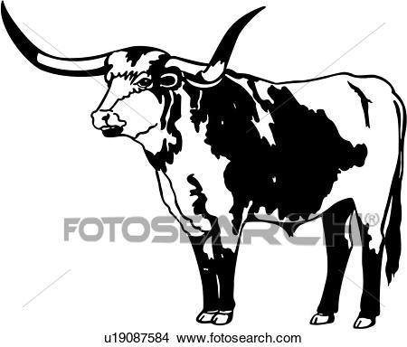 , bull, cow, longhorn, animal, Clipart.