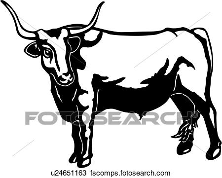Longhorn clipart black and white, Longhorn black and white.