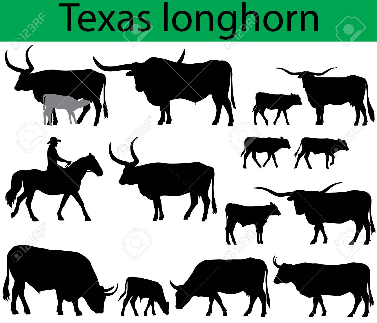 Collection Of Silhouettes Of Texas Longhorn Cattle Breed.