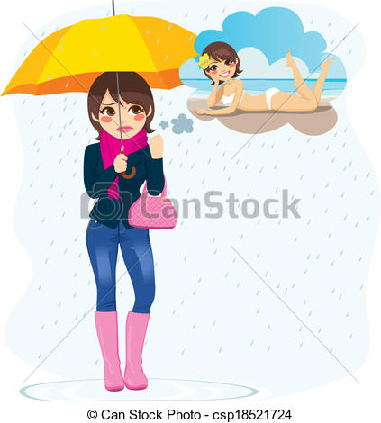 Vector Illustration of Woman Longing For Summer.