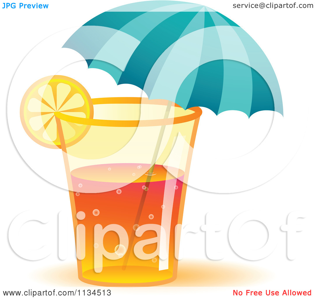 Clipart Of A Long Island Iced Tea Cocktail Drink With An Umbrella.