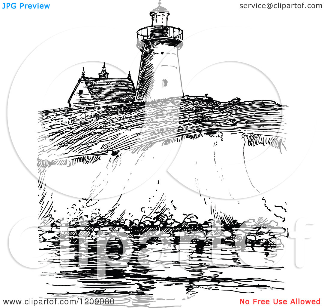 Clipart of a Vintage Black and White View of Long Island.