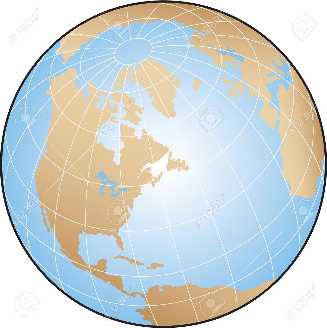 World Globe Illustration Focusing On North America With Lines.